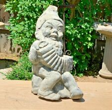 Antique Gnome w/ Accordion Cement Concrete Whimsical Outdoor Garden Statue