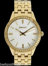 DKNY GOLD TONE STEEL,MOP PEARL DIAL+CRYSTALS-NY4999-NEW