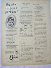 1954 Magazine Advertisement Page For Q-Tips Cotton Ear Swabs Baby Vintage Ad