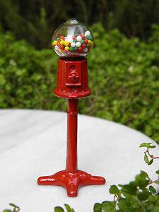 Miniature Dollhouse FAIRY GARDEN Accessories ~ Red Metal Gumball Machine ~ NEW