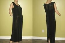 COLDWATER CREEK size 12 Slinky Travel Knit Slinky Black Sleeveless Long DRESS
