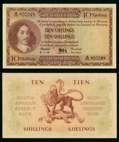 Currency 1959 South African Reserve Bank Ten Shillings Banknote Pick# 91d XF++