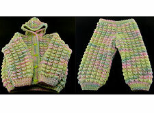 LOT 2 PC SET BABY GIRL CLOTHES HOODIE KNIT JACKET PANTS MULTICOLOR 2-3T HANDMADE