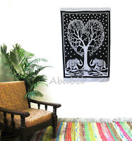 Elephant Heart Tree Wall Hanging Indian Cotton Poster Size Tapestry Urban Throw