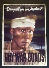 1944 WW2 USA AMERICA BUY WAR LOAN BONDS ARMY SOLDIER INFANTRY PROPAGANDA POSTER