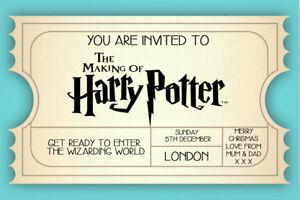Personalised Harry Potter World London Mock Event Ticket/ Invite inc envelope T9