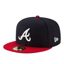 NEW ERA CAP. 59FIFTY BASEBALL ATLANTA BRAVES AUTHENTIC ON FIELD. FITTED NAVY HAT
