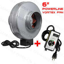 "6"" inch Atmosphere Vortex Inline Power Fan VTX Blower Duct + VenTech Controller"