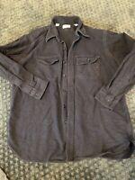 vtg USA made LL BEAN camp flannel shirt sz 18 / LARGE chamois NAVY CLOTH SHIRT