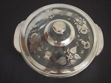 Georges Briard Fire King Silver Damask 2 Quart Casserole Dish Mid Century