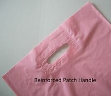 100 Plastic Carry Bags with Die Cut Patch Handle -Gloss PINK 480+50(H)x380(W)
