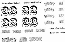 #22 Fred Sudlow's Auto Salvage race car DECAL SHEET