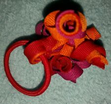 Gymboree Girls hair bow Peruvian Doll orange maroon purple pony O band ponytail