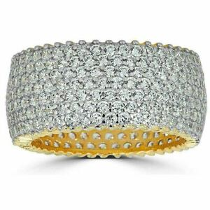 14k Gold Over Solid 925 Silver Real Icy Eternity Band Wedding Hip Hop Pinky Ring