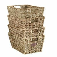 VonHaus Set of 4 Seagrass Storage Organizer Baskets with Insert Handles
