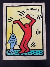 """Vintage Keith Haring Pop Art FIshing Painting on Paper 11"""" x 8.25"""""""