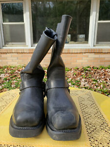 $230 Harley Davidson Men's Size 10.5W Black Pull On Strap Biker Boot 91345 EUC