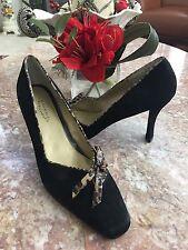 New Ashro Women's Black Suede Animal skin Print Bow Heel Pump Shoes Size 10M