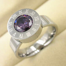 Mens Titanium Ring Black CZ Stainless Steel Wedding Dad Husband Birthday SZ-11.5