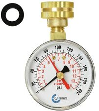 "CARBO Instruments 2-1/2"" Water Pressure Test Gauge 200 psi,  3/4"" Female Hose"