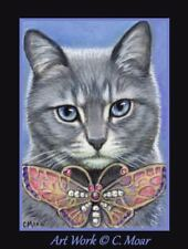 Gray Tabby Cat Pretty Butterfly ACEO Limited Edition miniature Art Print