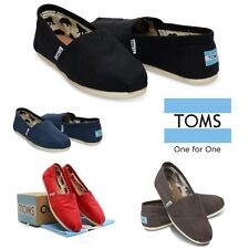 Nib Toms Women's Classic Canvas Slip Flats Shoes Toe Stitch With Elastic
