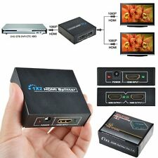 HDMI 1x2 Port Mini Splitter Switch 3D 1080p HDTV 1 IN 2 OUT Powered Duplicator