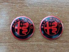 Set of 2pcs  RED&BLACK Alfa Romeo Key fob 15mm emblem badge logo insignia