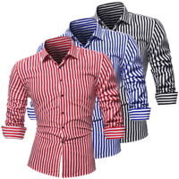 Fashion Men Striped Casual Shirts Fit Button Down Dress Tops  Long Sleeve Slim