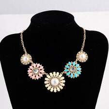 GOLD TONE MULTI-COLOUR DAISY FLOWER FAUX PEARL NECKLACE WITH  CRYSTALS