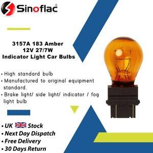 2 x 3157A 183 Amber Indicator Light Car Bulbs Wedge Base 12V 27/7W