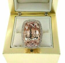 20.30 Carats Diamond and Long Cushion Morganite Halo Celebration Ring 14K Rose