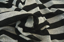 B69 COTTON BLEND FINE SINGLE JERSEY BLACK & LIGHT GREY MARL STRIPE MADE IN ITALY