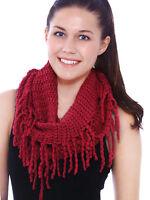 Women Ladies Knitted Crochet Tassel Infinity Scarf Fringe Loop Circle Scarves