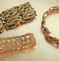 Silver Tone Jewelry Lot Wear Repair Rhinestones Chains Bracelets 6 Pieces