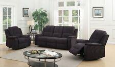 Grey / Black Fabric Manual 3 Seater + 2 Armchairs Recliner Sofa Suite DORSET