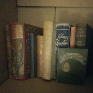 job lot of 9 antique vintage rare books inc jane eyre, longfellow, Johnny ludlow
