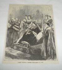 1877 magazine engraving ~ QUEEN VICTORIA Opening Parliament 1877