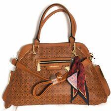 Big Buddha Logo Printed Dome Satchel Brown Gold Shoulder Handbag Scarf Walnut