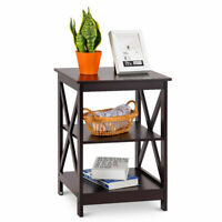 3-Tier Nightstand End Table Storage Display Shelf Living Room Furni Espresso NEW