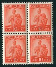 1945 Democratica 10 lire blocco di 4 centrato integro spl MNh **