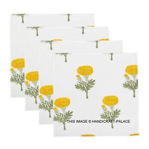 Hand Block Print Yellow Floral Napkins Table Linen Cotton Beautiful 4pc set