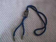 Vintage Blue Bolo Tie With A Silvertone Ship/Clipper Ship Clip