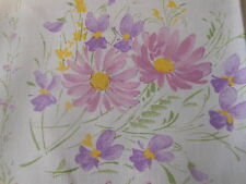 Vintage French 8 Lovely Spring Violets Floral Fabric  Napkins ~ Lavender Yellow