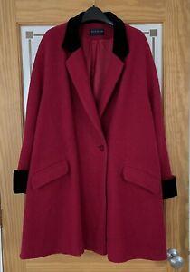 ALEXON Raspberry Red Wool Blend Coat With Black Velvet Collar/Cuffs.