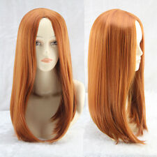 Lady Medium Long Soft Straight Hair Cosplay Costume Brown Golden Synthetic Wigs