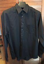 VAN HEUSEN Black Sateen Cotton Blend Long Sleeve Shirt Size XXL