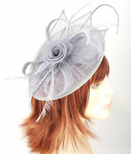 Silver Grey Oval Shaped Sinamay Flower,Bow,Feathers Hair Fascinator - 8cm Clip