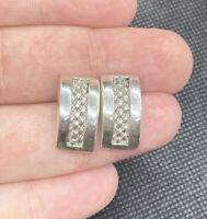 Vintage Sterling Silver 925 Solid Ornate Braided Post Pierced Earrings