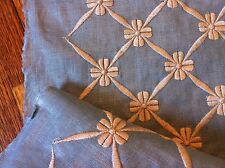 ZIMMER ROHDE TRAVERS BOW KNOT EMBROIDERY FABRIC msrp $300/yd! stunning blue/oat